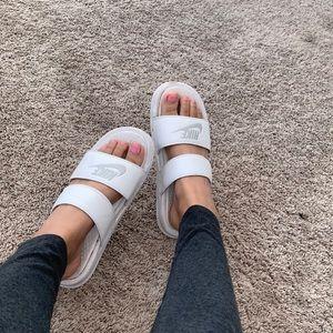 white nike double strap slides